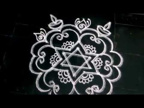 SIMPLE DOUBLE LINE KOLAM WITH DIYAS FOR DIWALI - YouTube