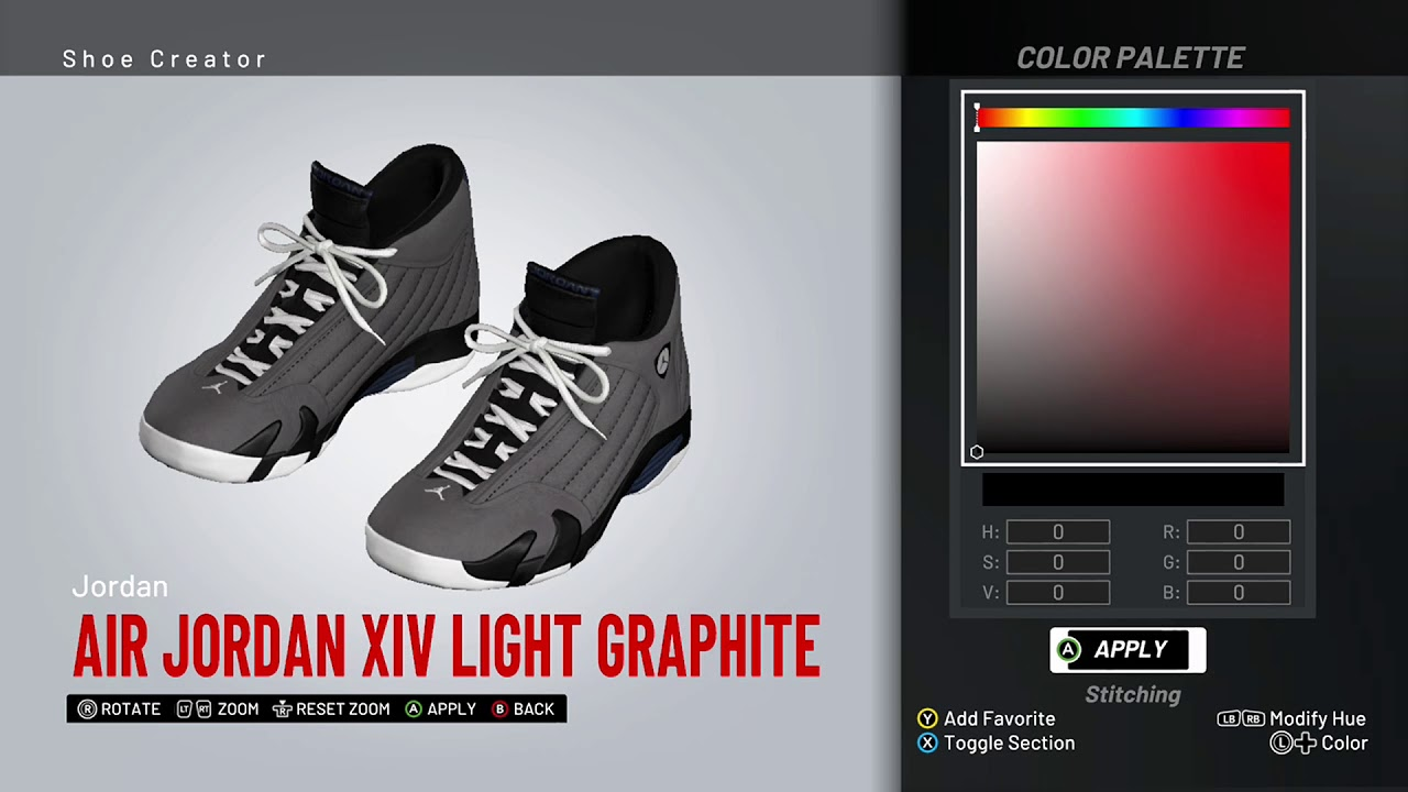 quality design 6913e e740c ... low price nba 2k19 shoe creator air jordan 14 light graphite d22db cae16