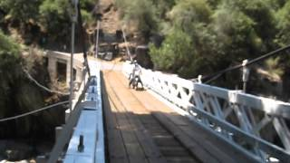Velocettes On One-lane, Wooden, Suspension Bridge