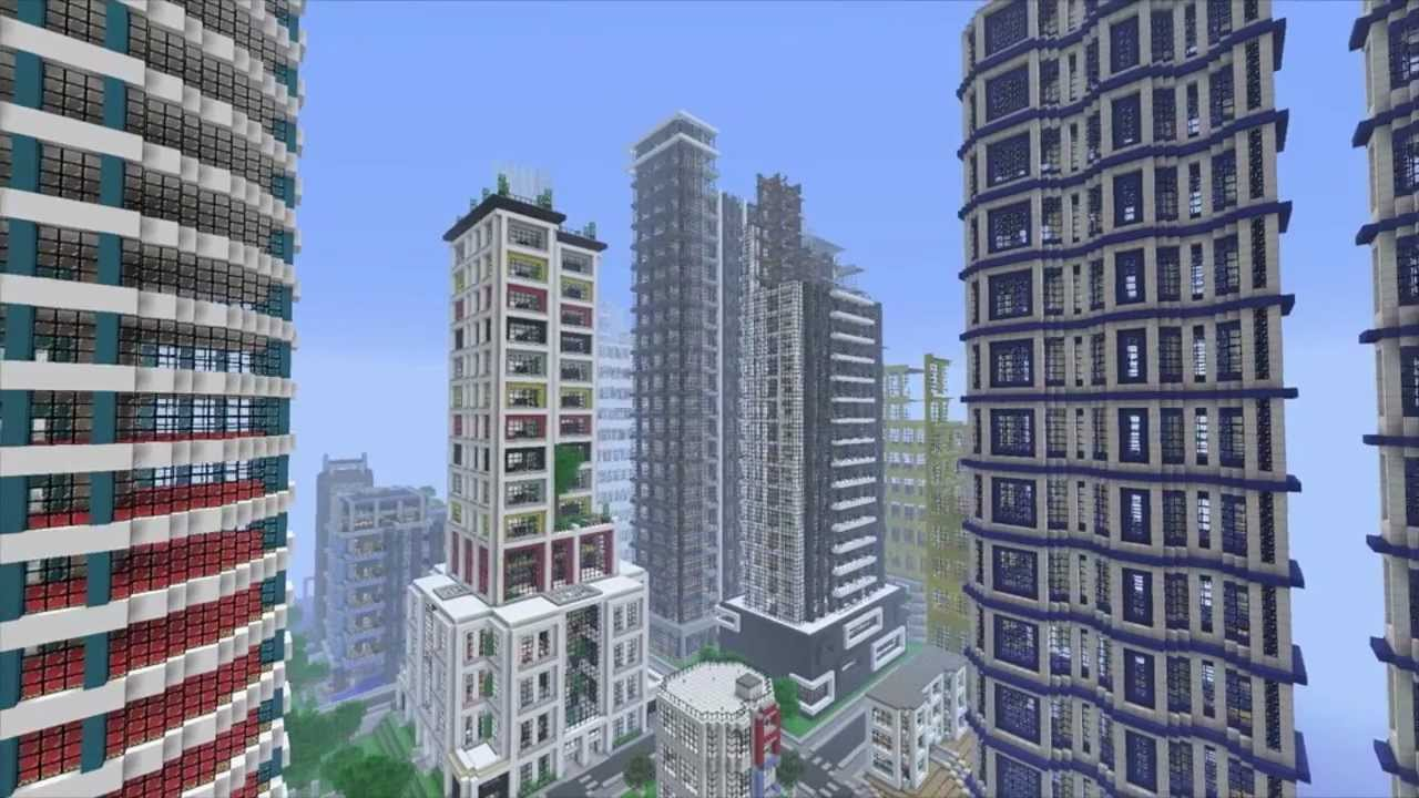 FireRockerzStudios MineCraft Skyline City Tour FRZ World Server - Minecraft moderne hauser plane