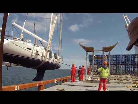 """Oyster 655 """"RESTLESS"""" offloading Sevenstar Yacht Transport Newport RI"""