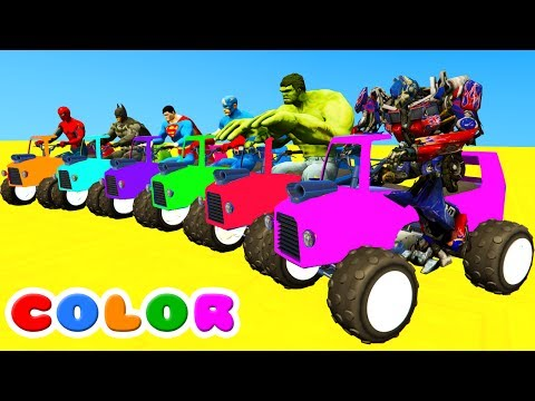 Thumbnail: LEARN COLORS ATV /w Fun Spiderman Animation for babies w Cars Superheroes for Kids!