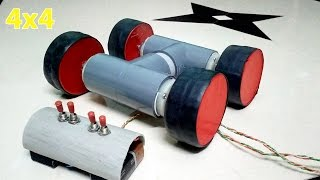 How to Make a Powerful 4x4  Remote Control Car at home