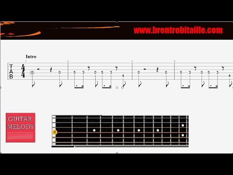 Guitar Tab - Uptown Funk - Easy Guitar - Big Fingerboard - YouTube