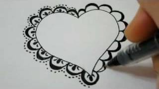 How To Draw A Lace Heart - How To Draw Fancy Lace Around a Heart
