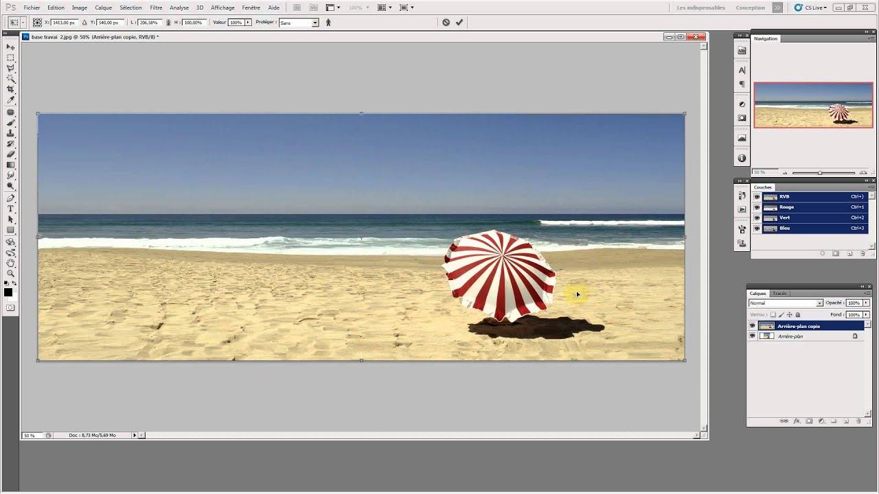 Elargir une photo avec photoshop youtube for Effet miroir photoshop