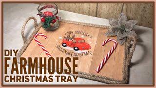 DIY Christmas Rustic Farmhouse Red Truck Decor Tray - Dollar Tree / Walmart DIY
