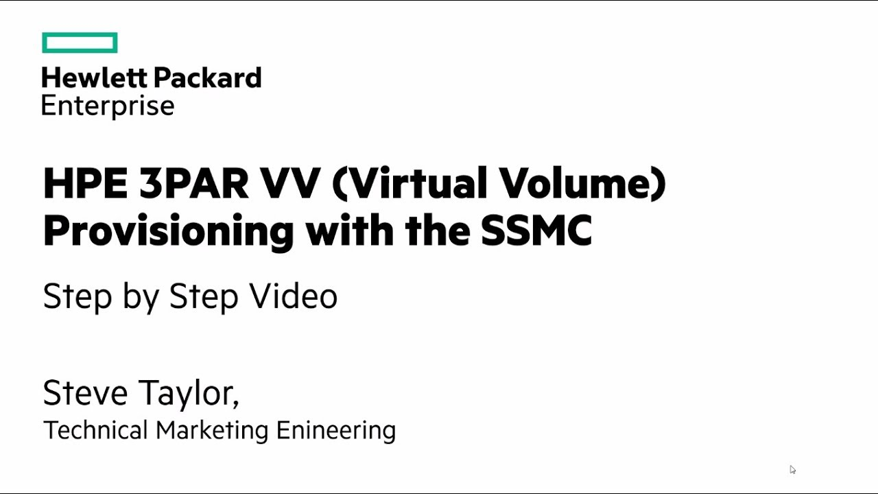 HPE 3PAR StoreServ Array: Creating and exporting a volume