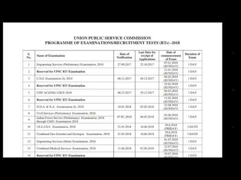 UPSC Annual Calendar 2018 Officially Published | Union Public Service Commission