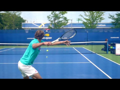 Alexander Zverev Forehand Slow Motion Court Level View - ATP Tennis Forehand Technique