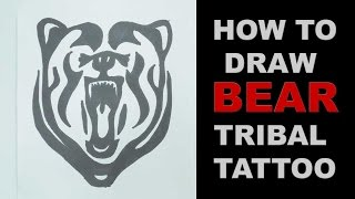 How to draw bear head tribal tattoo design  |   Ep. 128