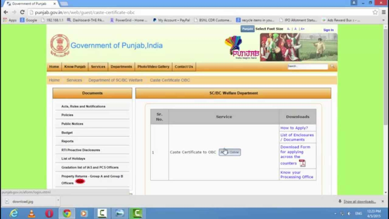 How to apply casts certificate online in india for sc obc youtube aiddatafo Gallery