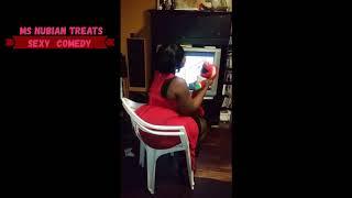BIG MOMMA  SIT N CHAIR   ELMO ATTACKS  BBW LADY IN RED CHAIR BUTT CRUSH COMEDY   SIT & WATCH TV