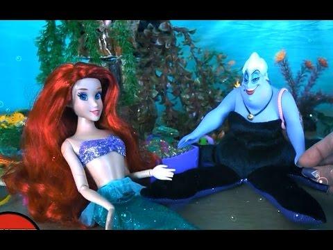 Русалочка Ариель и морская ведьма Урсулла, Ариель хочет стать человеком, Видео с куклами для детей