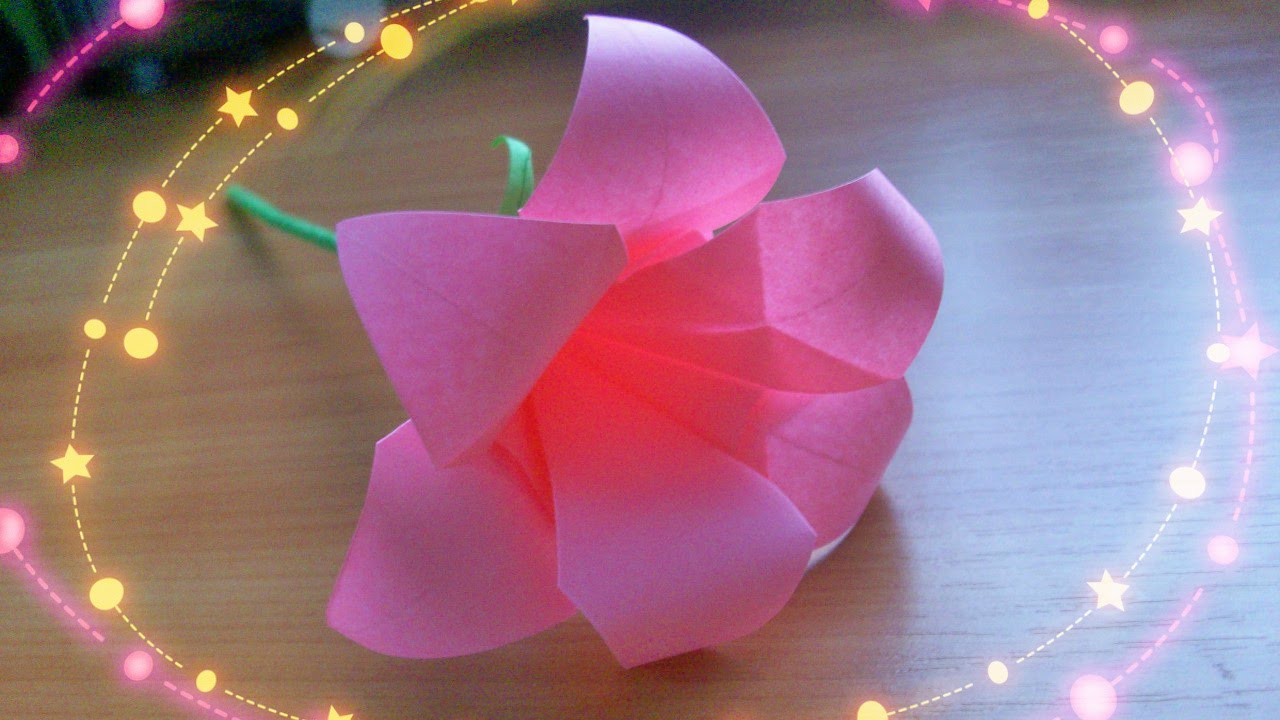 Diy easy crafts how to make cute 6 petals origami lily for Easy handmade flowers
