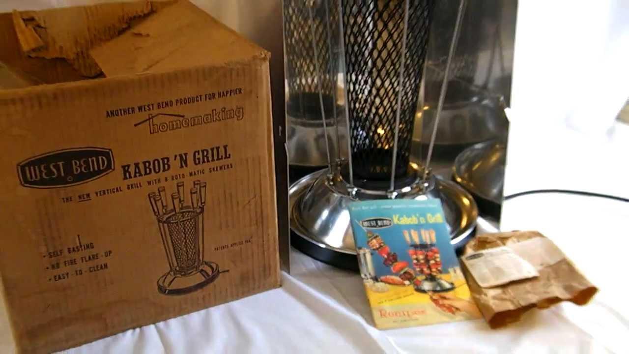 Vintage 60 S West Bend Kabob N Grill Vertical Charcoal