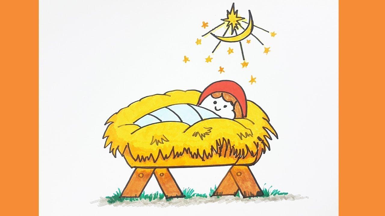 How To Draw Baby Jesus Easy Color For Kids Christmas Baby Jesus Drawing Dibujar Al Niño Jesús