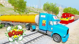 Learn Color Tanker Truck In Trouble w Train In Spiderman Cars Cartoon Songs For Kids