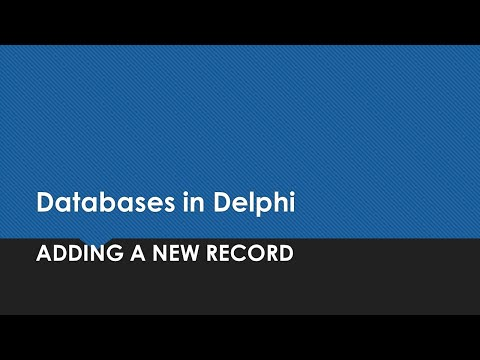 Editing Databases In Delphi - Inserting A New Record