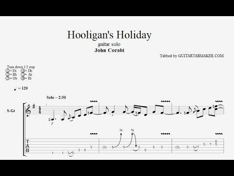 Hooligans Holiday solo TAB - acoustic guitar solo tab - PDF - Guitar Pro