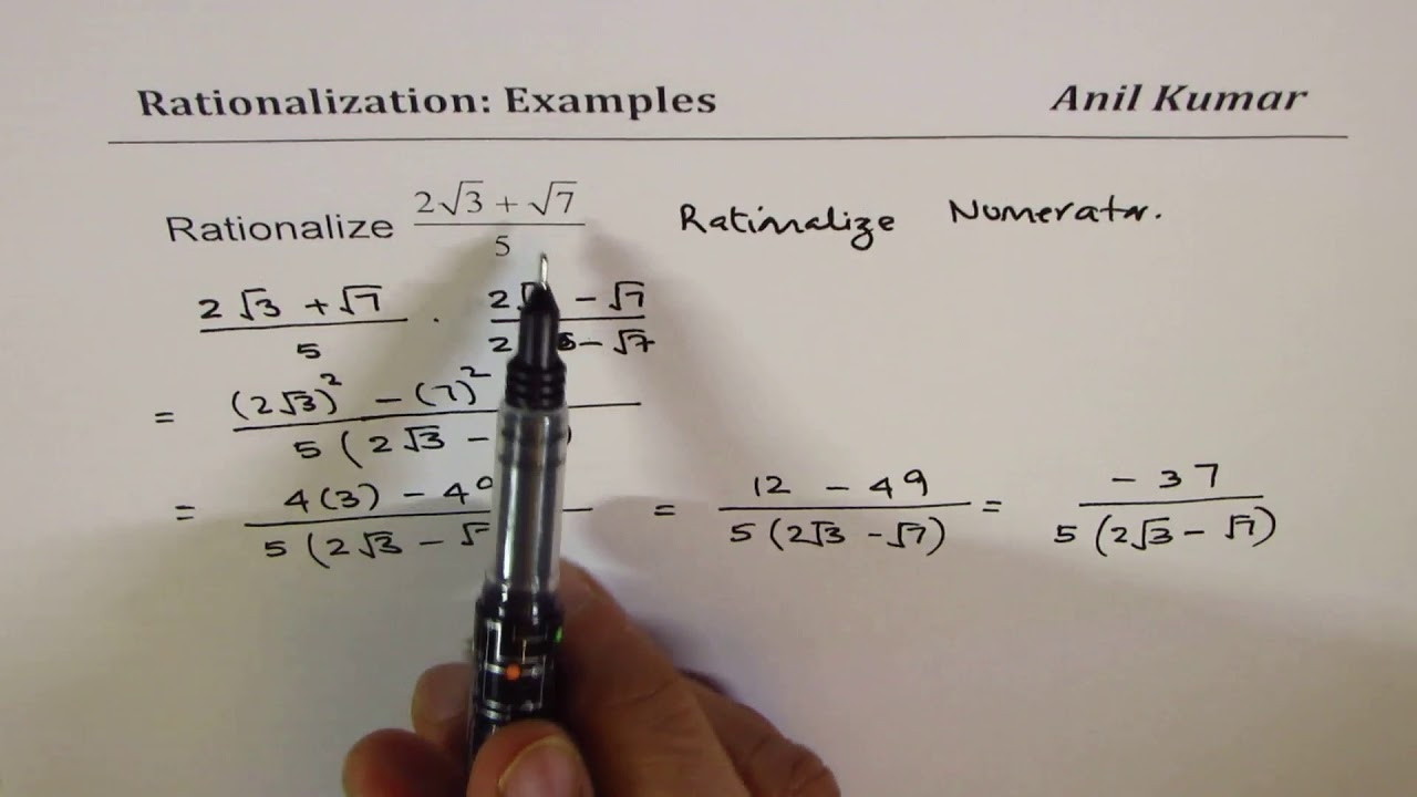 Concept Of Rationalization And Examples To Rationalise Numerator Or
