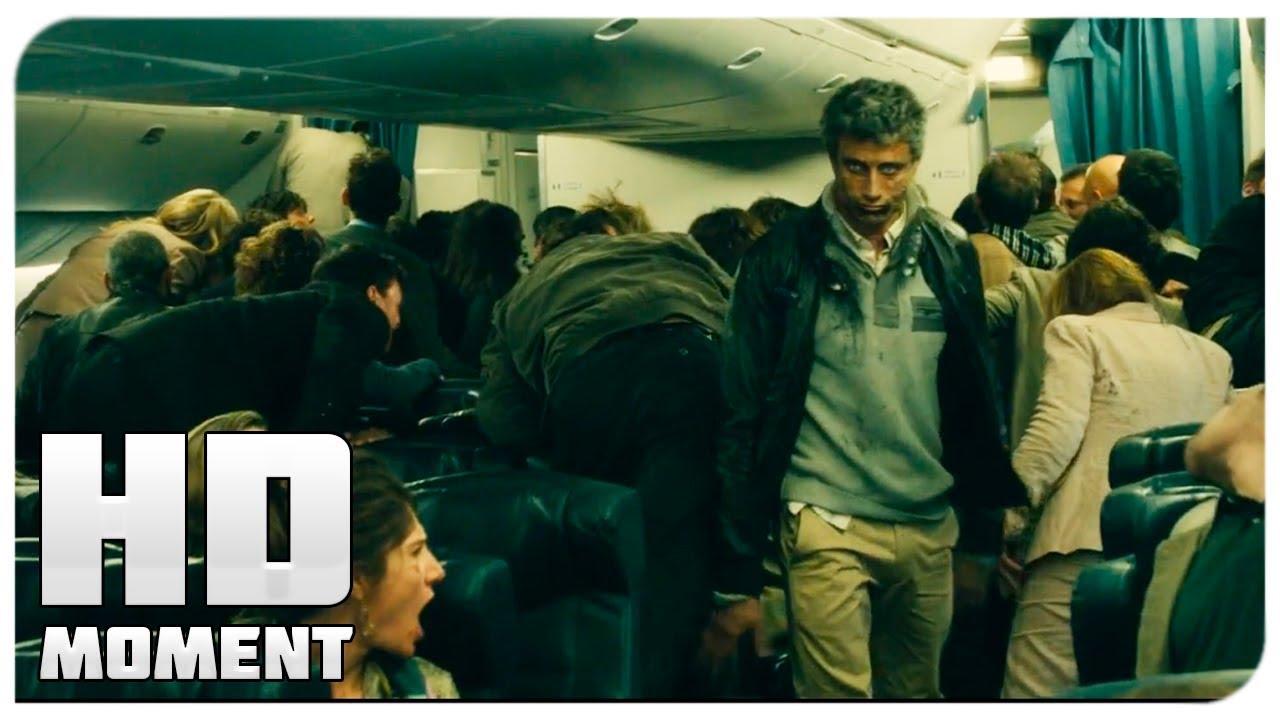 Зомби на борту самолета  Война миров Z 2013  Момент из фильма