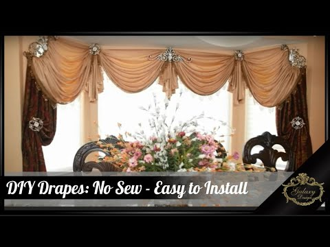 DIY Drapes | No Sew Easy Way To Install Curtains | Galaxy Design Video #216