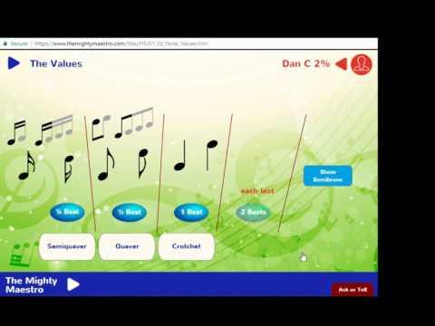 1.2 Note Values - Crotchet, Quaver, Semiquaver, Minim and Semibreve - The Mighty Maestro Help Vids