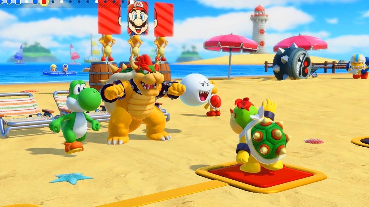 Super Mario Party - Bowser Jr joined Challenge Road - Mushroom Beach