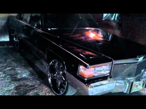 "1990 Cadillac Brougham on 24""s with FRESH Black Paint ........"