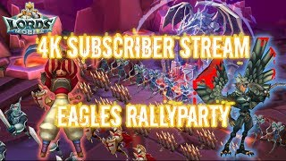 Lords Mobile - 4k Subscriber Stream - Rallyparty - HUGE Zeroes