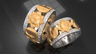 Обручальные кольца из желтого и белого золота