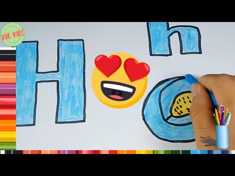 Draw and color letter H with Rio kids🎨Learn simple alphabet💖Rio Kids