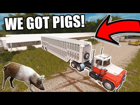 FARMING SIMULATOR 2017 | WE BOUGHT 42 PIGS! AND TRUCKING WITH THE OLE MACK | EP #7