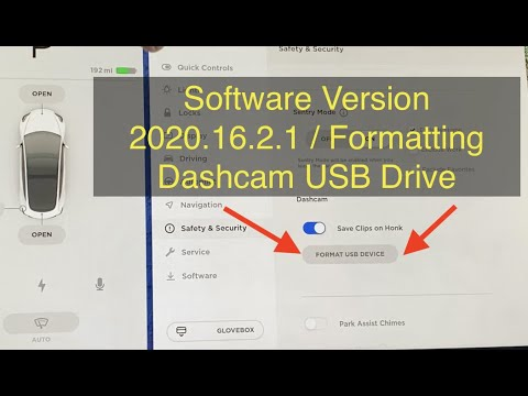 Tesla Software Version 2020.16.2.1 / Formatting Dashcam USB Drive