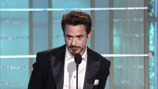 Robert Downey Jr. receiving Golden Globe