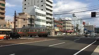 伊予鉄道 大手町駅 ダイヤモンドクロス 郊外電車 通過シーン