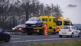Lange file richting Zwolle door ongeluk op A28 bij Nieuwleusen, weg weer vrij