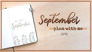 PLAN WITH ME | September 2019 | Bullet Journal Setup - Brown & Leaves Minimalism
