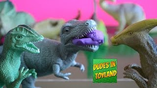 Dinosaur toys playing Play Doh videos for children t-rex movie collection food dino toy review