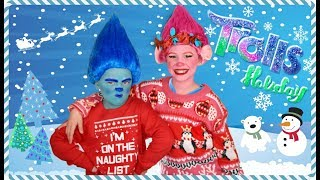 Trolls Poppy and Branch Holiday Makeup and Costumes and Trolls Jingle Bells Music Video