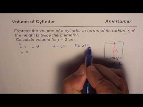 How To Write Formula For Volume Of Cylinder As Function Of