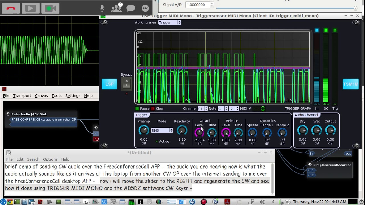 Morse Code Audio Qso over the internet using the FreeConferenceCall Desktop  APP - LIVE demo