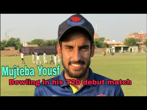Mujteba Yousf junior cricketer of J&K bowling in his T20 debut match