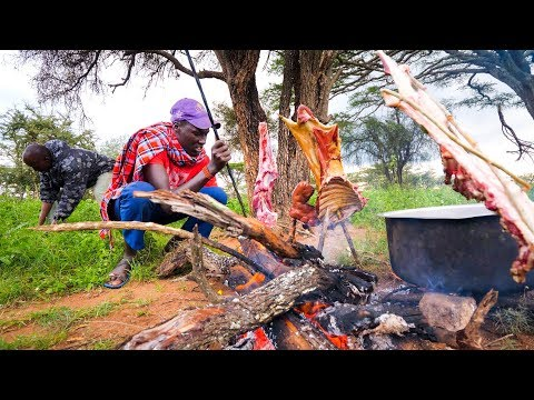 East African Food - He Gave Me The PRIZED DELICACY! [WARNING] - Goat Roast With Maasai in Kenya!