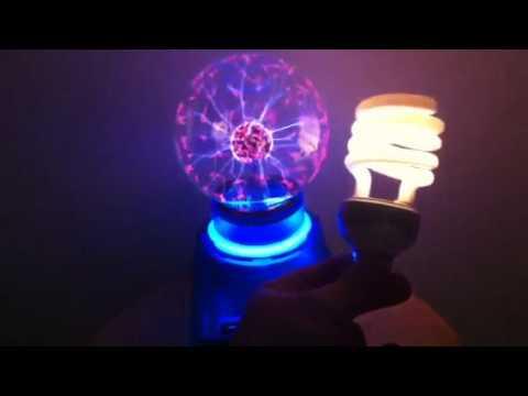 Harry Potter Plasma Ball Trick With Fluorescent Light Bulb