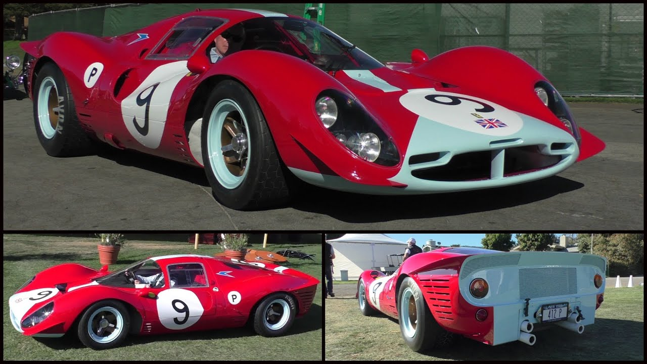 Pebble Beach Car Show >> 1967 Ferrari 412P driving on the road | One of a kind | Monterey Carweek 2015 - YouTube