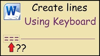 How to create straight lines in Word using keyboard
