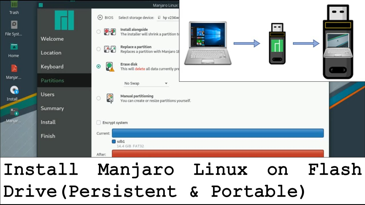 Install Manjaro on Flash Drive (Persistent and Portable)   TechSolvePrac