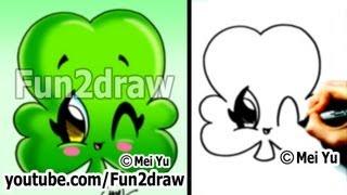 Kawaii - How to Draw Kawaii Stuff - St Patricks Day Irish Clover (Cute & Easy Shamrock) - Fun2draw